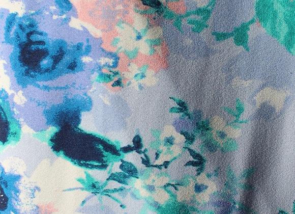 Blue,Purple & Blush Floral Lycra Polyester