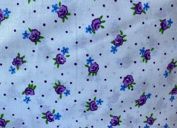 Purple Floral and Polkadots Print Poly Cotton