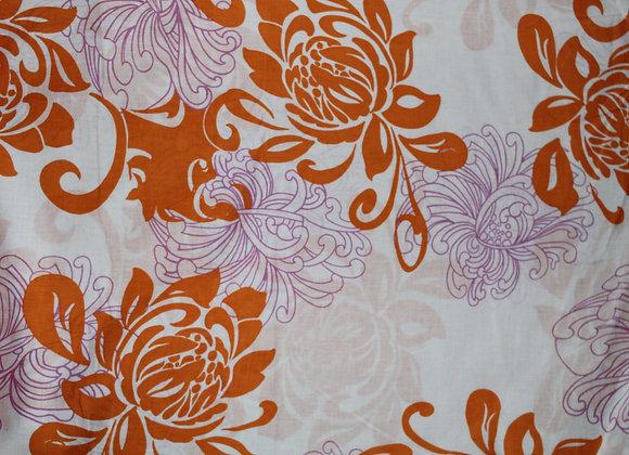 Large Orange Floral Print Cotton