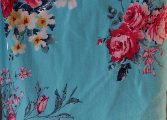 Light Blue Floral Lycra Polyester