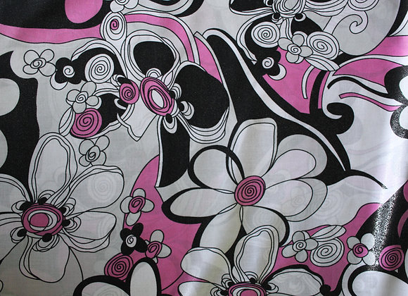 Blank, Pink and White Glittery Floral Print Cotton