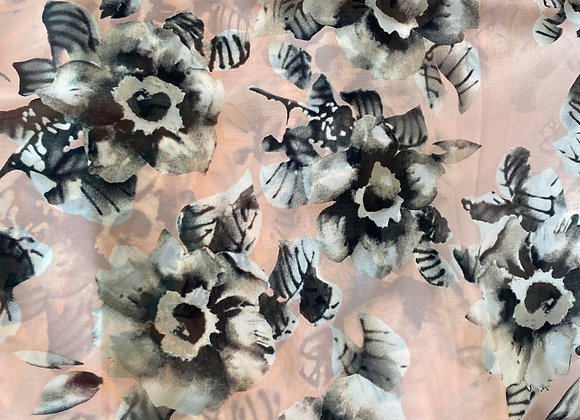 Black flowers on peach chiffon