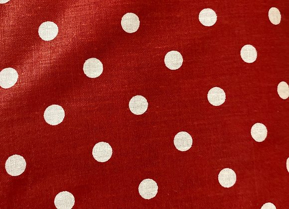 Red with white small polkadot Cotton Print