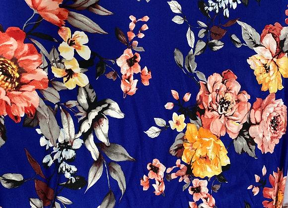 Blue medium floral- Bolero two side brush