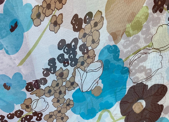 Blue and brown floral chiffon