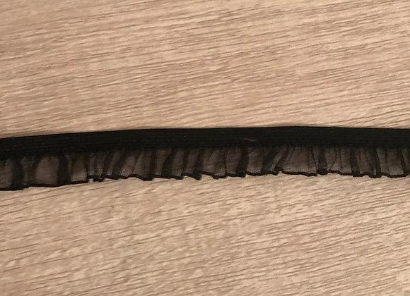 Black 15MM Ruffled Organza Stretch Trim Elastic