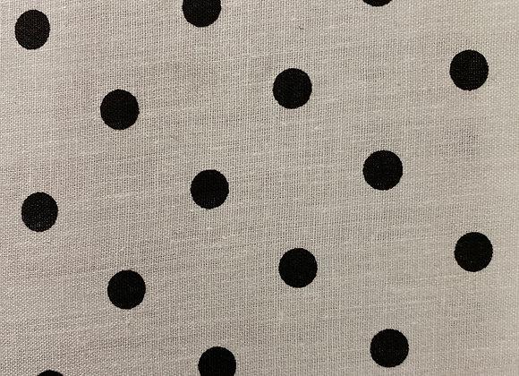 White with small black polkadot Cotton Print
