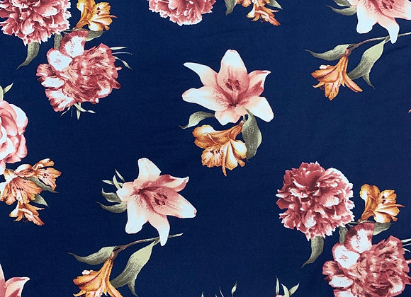 Navy Blue Floral Cotton Lycra