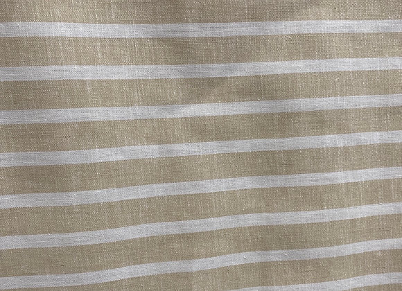Beige and white striped Linen