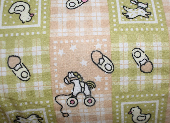 Beige and Olive Baby 100% Cotton Flannel