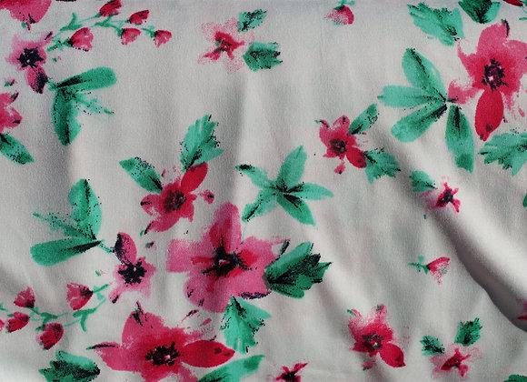 Pink Floral Lycra Polyester