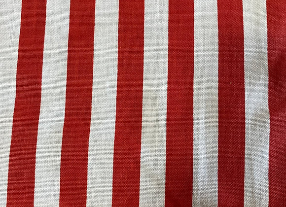 Red and white 1/2 inch striped Cotton Print