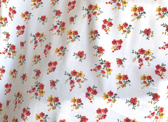 White W/ Pink & Yellow Flowers Lycra Polyester