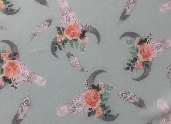 Aqua tribal print polyester chiffon