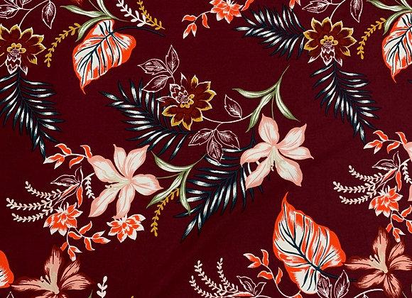 Burgundy Floral Lycra