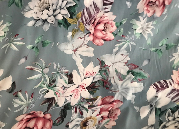 Blue green floral rayon