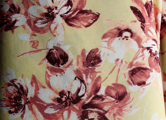 Yellow /Floral Lycra Polyester