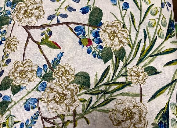 Garden Flowers Beige and Blue Cotton