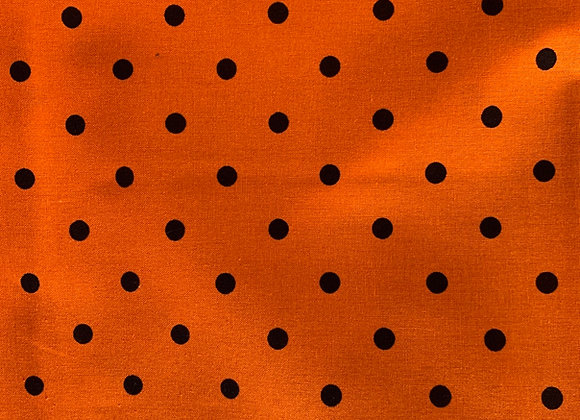 Halloween Dots Orange /Black 100% Cotton