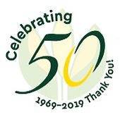 Graphic celebrating the 50th Anniversary of Earthworks from 1969-2019.