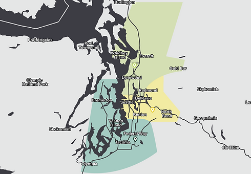 Map of the Puget Sound area, showing the location and service area of the three branches of Earthworks Landscape Services, Inc.