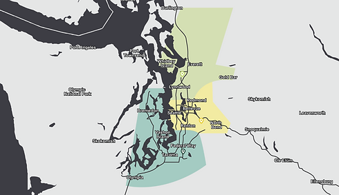 Map of the Puget Sound area showing the three Earthworks branch locations and service areas.