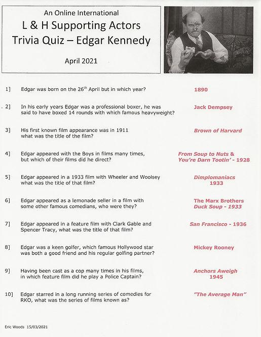 Edgar Kennedy Trivia Quiz - Answers  001