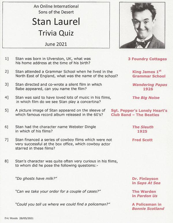 Stan Laurel Trivia Quiz - Answers  001.j