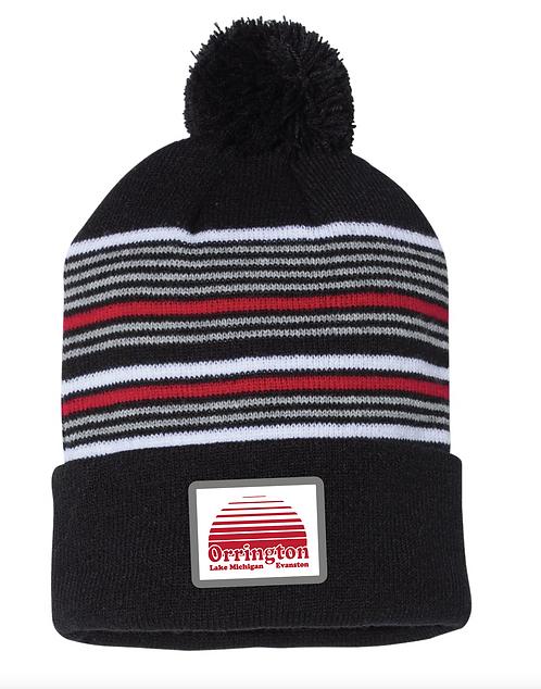 Striped Pom-Pom Knit Beanie