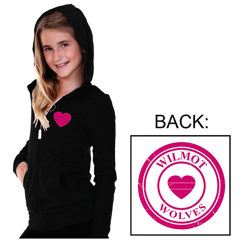Lightweight Jersey Heart Zip UP