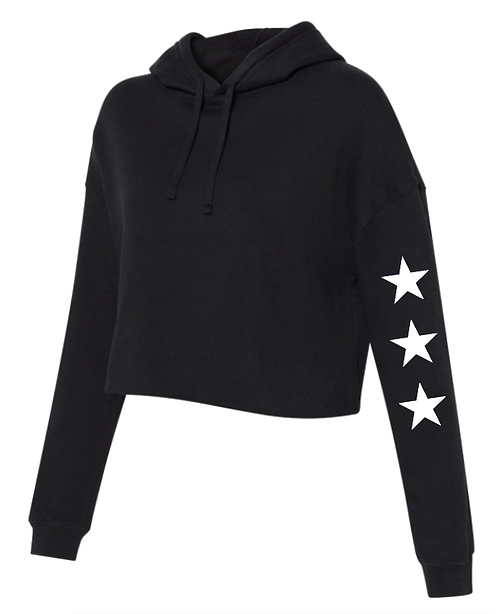 Black Cropped Star Hoodie