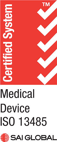 ISO 13485 logo certifying compliance to  a Medical Device Manufacturing quality system
