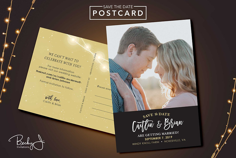 Save the Date Postcard | Black & Gold Twinkle Lights
