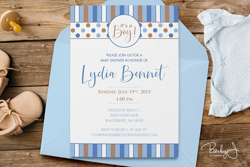 Baby Shower Invitations | Baby Blue & Tan