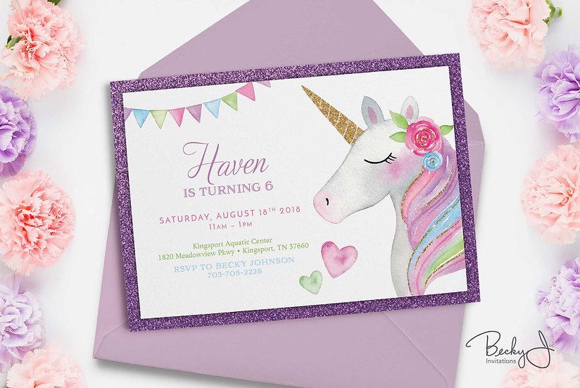 Birthday Invitation | Unicorn & Purple Glitter