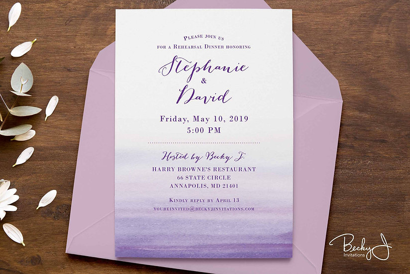 Rehearsal Dinner Invitations | Purple Watercolor Wash
