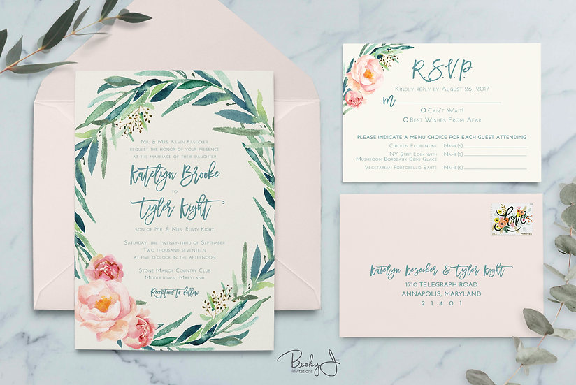 Wedding Invitation | Eucalyptus & Blush Pink