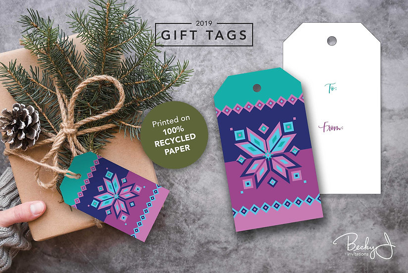 Gift Tags | Aqua and Magenta | Geometric Snowflakes | 6 Pack