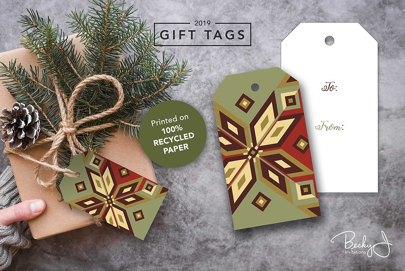 Gift Tags | Green and Red | Geometric Snowflakes | 6 Pack