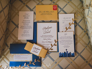 Wedding invitation suite crystal shimmer paper