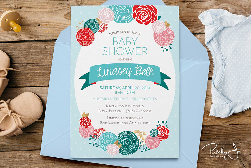 Baby Shower Invitations - Blue and Red Flowers - Carnations