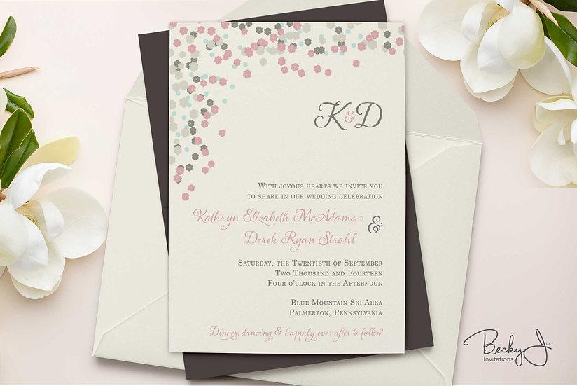 Wedding Invitation | Dusty Rose & Gray Romance