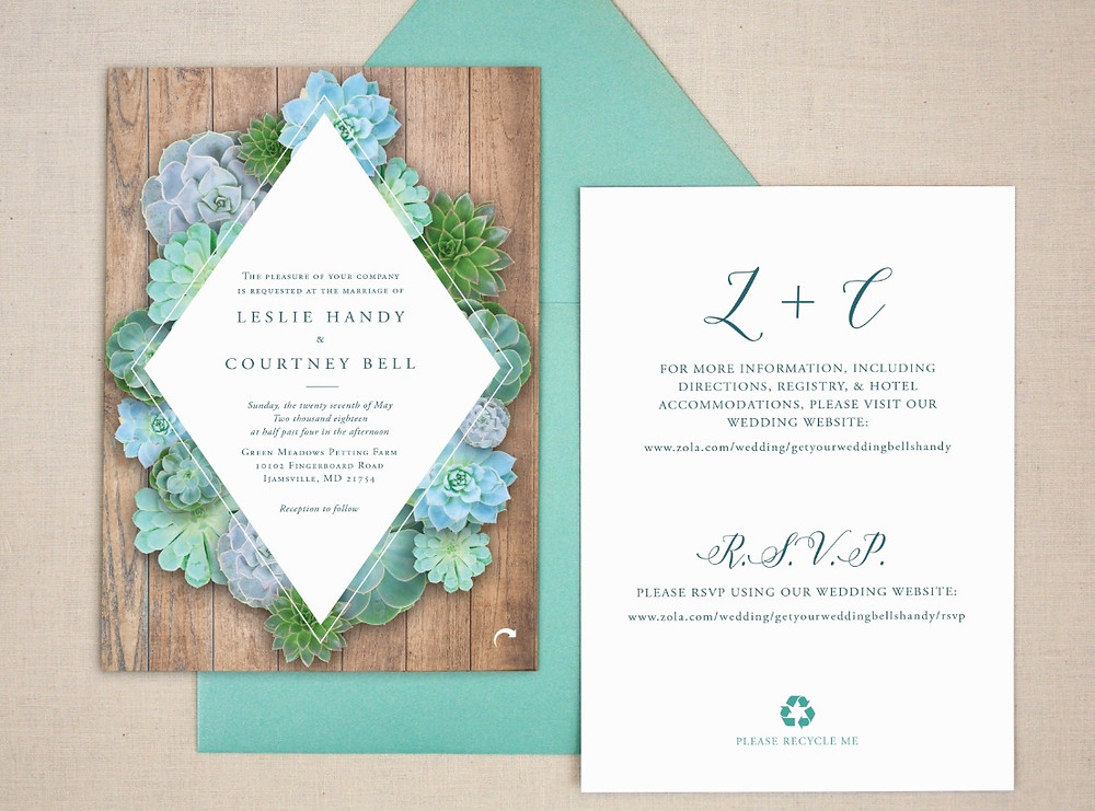 Wedding invitation with succulents on it.