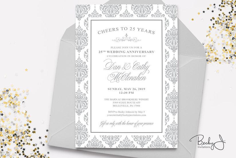 25th Anniversary Invitation | Silver Anniversary
