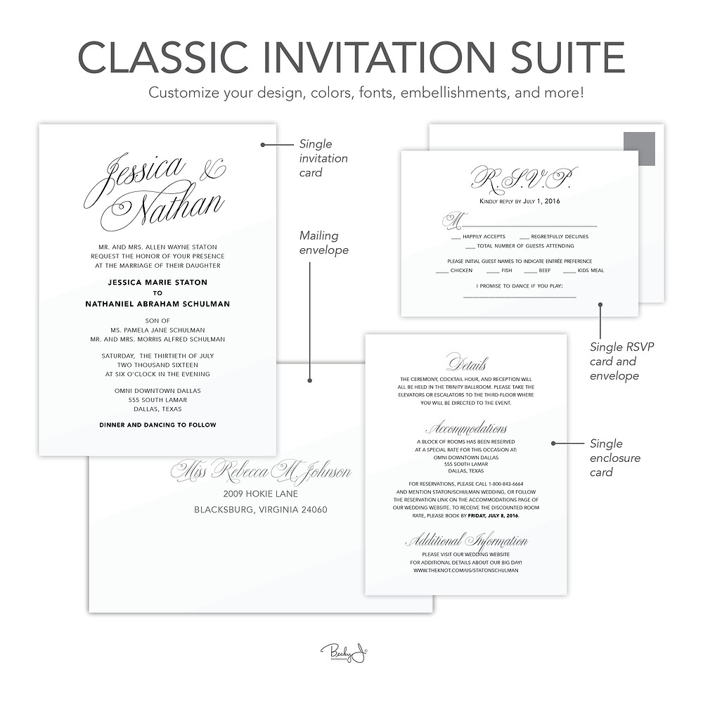 Classic Invitation Suite Example from Becky J. Invitations