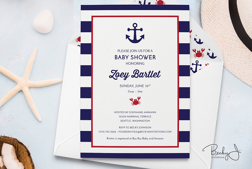 Baby Shower Invitations | Nautical Stripes | Crab and Anchor Art