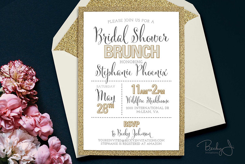 Bridal Shower Invitation   Glitter Gold & Modern Typography