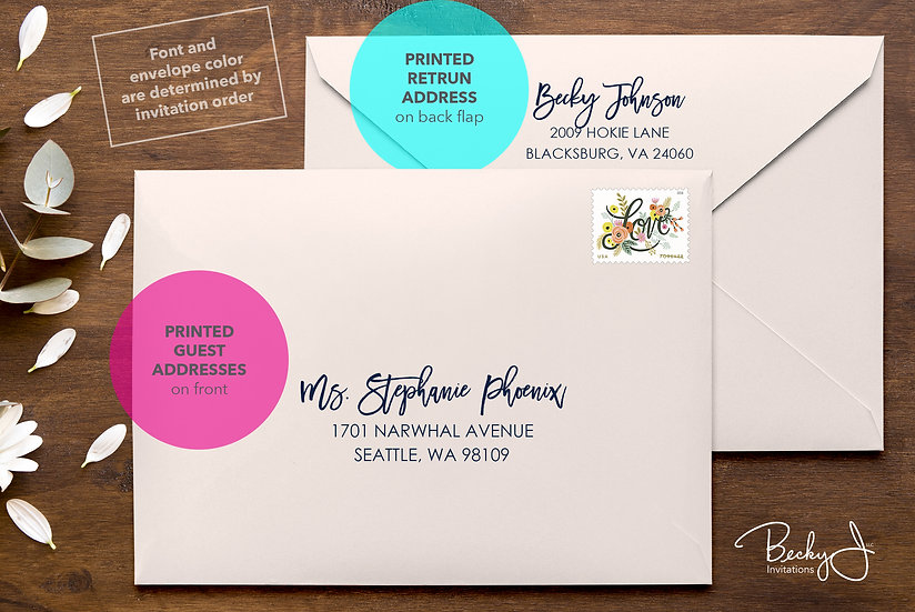 Address Printing Services - Guest AND Return Addresses
