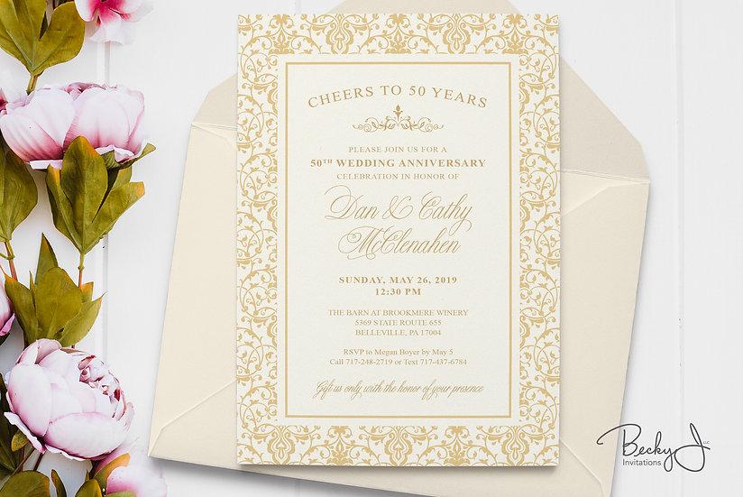 50th Anniversary Invitation | Gold Anniversary