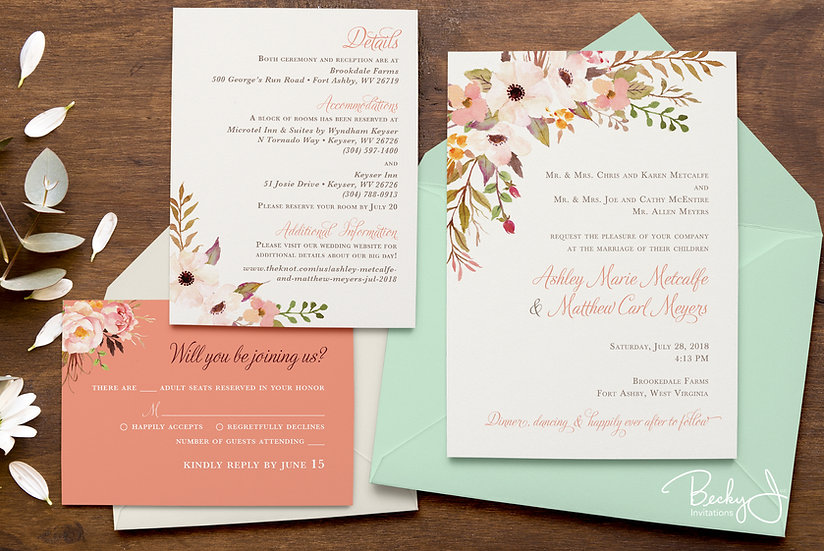 Wedding Invitation | Rustic Mint & Peach Florals
